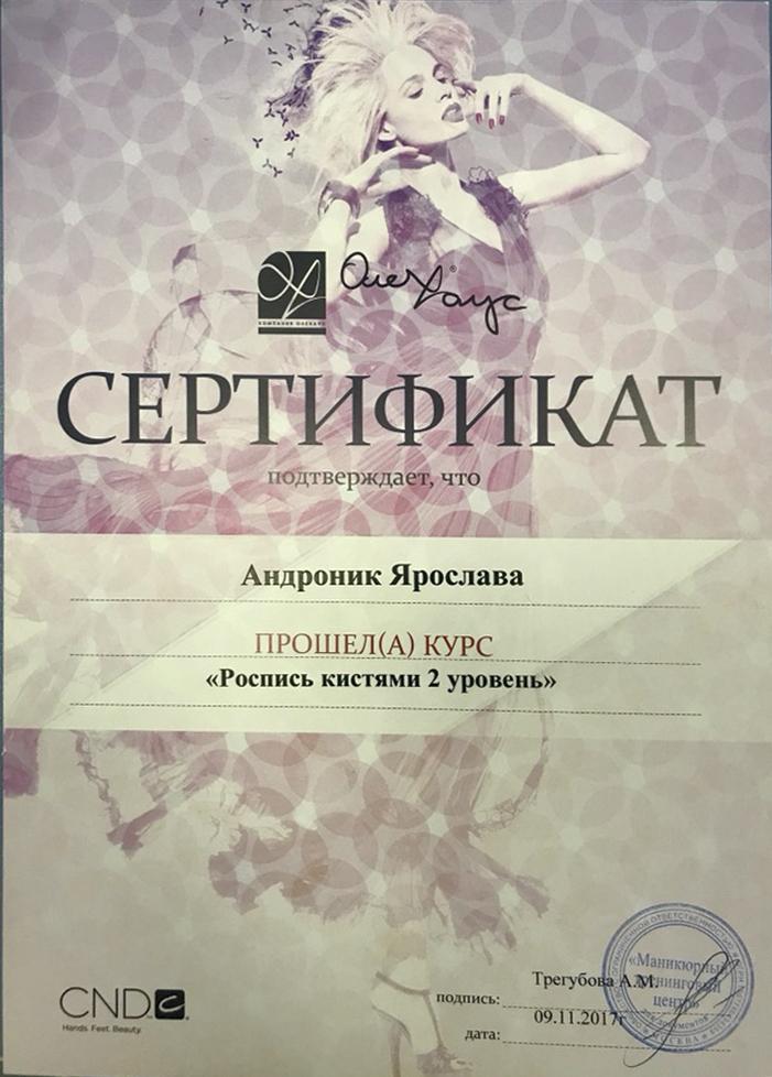 Андроник Ярослава прошла курс повышения квалификации «Роспись кистями 2й уровень»